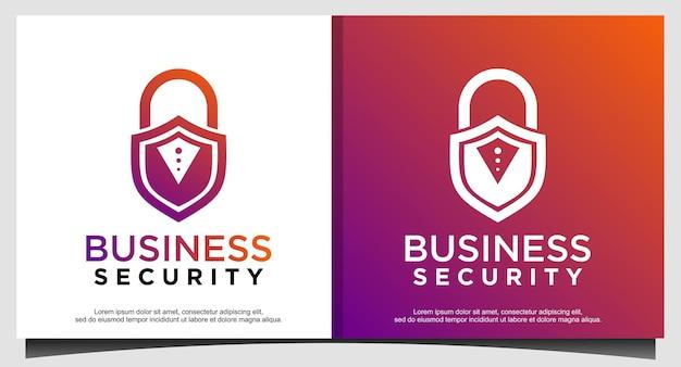 Vorhängeschloss schützt das design des sicherheitslogos Premium Vektoren