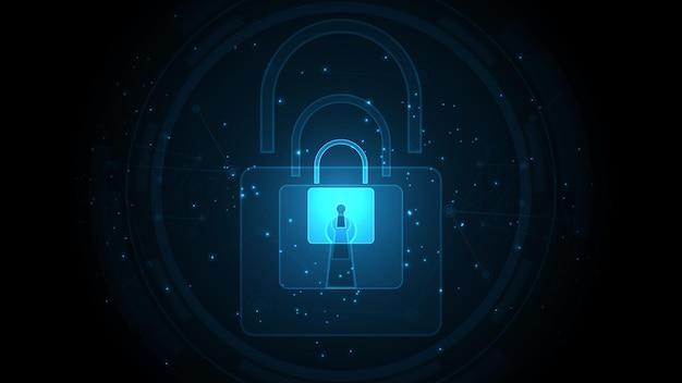 Vorhängeschloss sicherheit cyber digital konzept abstrakter technologiehintergrund schützen das system