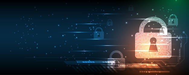 Vorhängeschloss sicherheit cyber digital konzept abstrakter technologiehintergrund schützen systeminnovation