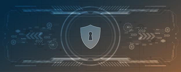 Vorhängeschloss sicherheit cyber digitales konzept abstrakter technologiehintergrund.