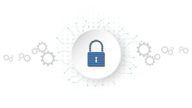 Vorhängeschloss-sicherheits-cyber-digitalkonzept abstrakter technologiehintergrund schützt systeminnovation