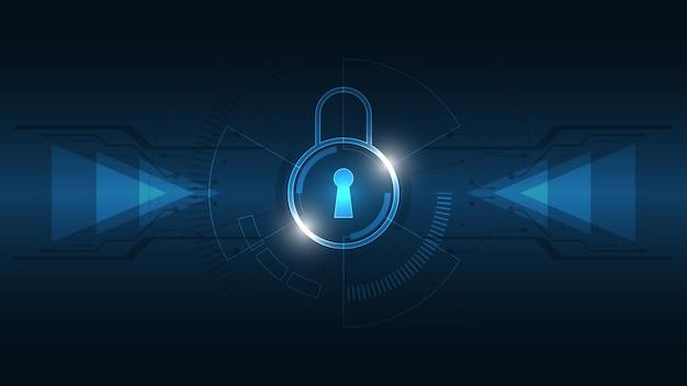 Vorhängeschloss-sicherheits-cyber-digitalkonzept abstrakter technologiehintergrund schützt systeminnovationsvektorillustration