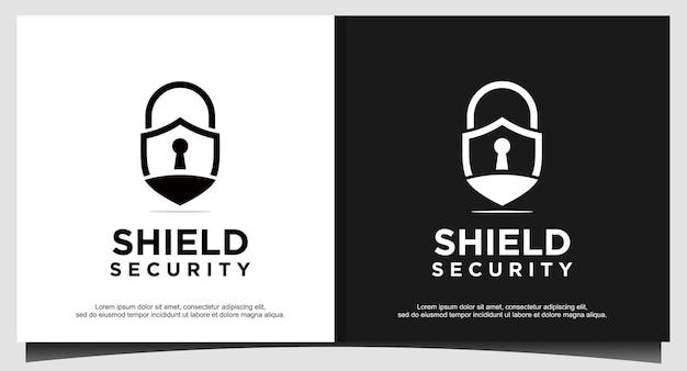 Vorhängeschloss-symbol-schutzschild für logo-design-illustrator, sicherheitssymbol