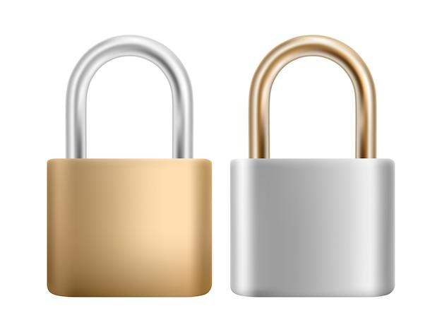 Vorhängeschloss-symbolsatz. stahl- und goldschloss zum schutz der privatsphäre, des webs und mobiler apps.