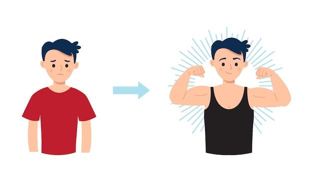 Vorher nach der körpertransformation fitter mann, der seinen muskel zeigt flaches vektor-cartoon-design