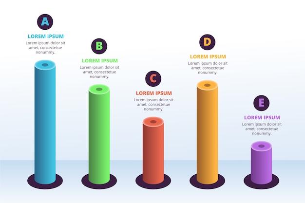 Vorlage 3d bars infografik