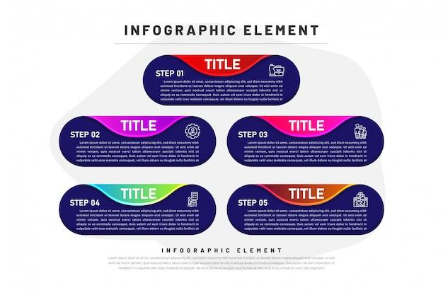 Vorlage business infographik farbverlauf mit element dunkel 5 option