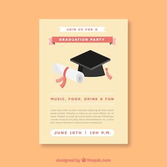 Vorlage der partybroschüre mit abschlusskappe und diplom