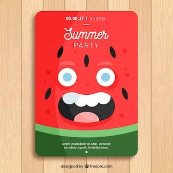 Vorlage der sommer-party-broschüre mit fröhlichen wassermelone charakter