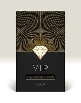 Vorlage der vip-einladung mit leuchtendem diamanten.