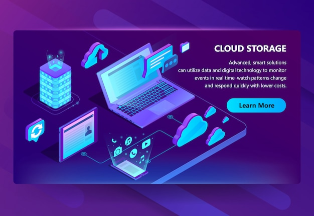 Vorlage der website für cloud-speicher