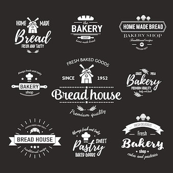 Vorlage des bäckereilogos und der abzeichen für frische backwaren