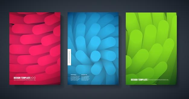 Vorlage des entwurfs der modernen umschläge des magazins mit einem abstrakten farbigen hintergrund.