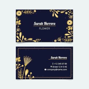 Vorlage floral goldene visitenkarte