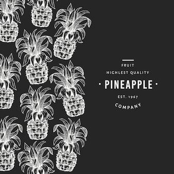 Vorlage für ananas und tropische blätter. hand gezeichnete tropische fruchtillustration