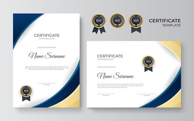 Vorlage für anerkennungsurkunde, gold und blau. sauberes modernes zertifikat mit goldenem abzeichen. zertifikatsrahmenschablone mit luxuriösem und modernem linienmuster. diplomvektorvorlage