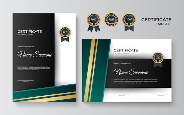 Vorlage für anerkennungsurkunde, gold und grün. sauberes modernes zertifikat mit goldenem abzeichen. zertifikatsrahmenschablone mit luxuriösem und modernem linienmuster. diplomvektorvorlage