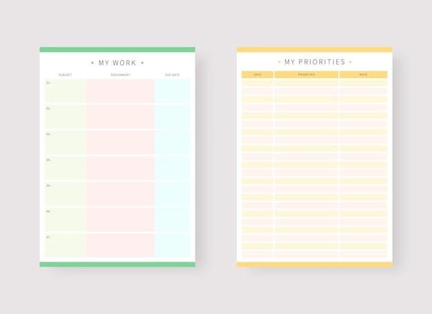 Vorlage für arbeits- und prioritätenplaner set mit planer und aufgabenliste