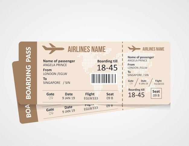 Vorlage für bordkartenticket der fluggesellschaft