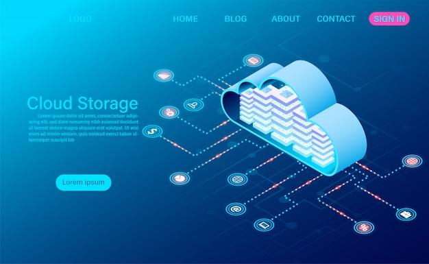 Vorlage für cloud-speichertechnologie und networking-zielseite