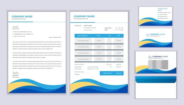 Vorlage für corporate identity. briefpapierschablonendesign mit briefkopfschablone, rechnung, umschlag und visitenkarte.