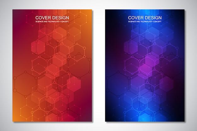 Vorlage für cover oder broschüre, mit sechsecken und technologischen hintergrund.