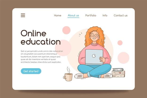 Vorlage für das design der zielseite für online-bildung