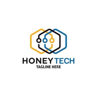 Vorlage für das design des honey tech-logos