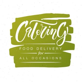Vorlage für das logo des catering-unternehmens. handskizzierte catering-logo-schriftzug-typografie. catering, outdoor-events und restaurant-service-logo auf grünem hintergrund isoliert. vektor-illustration eps 10