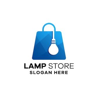 Vorlage für das logo des lampenladens mit farbverlauf
