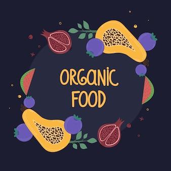 Vorlage für das menü mit früchten. bio-lebensmittel. mit papaya, granatapfel, wassermelone und blaubeere.