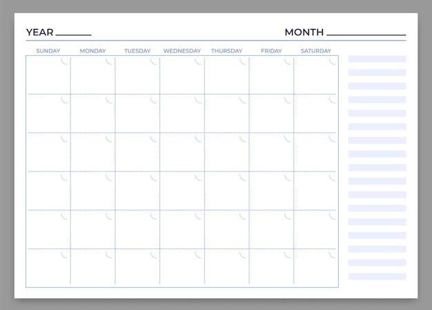 Vorlage für den monatsplaner. vektor-monats- und wochenplan, kalender täglich, zeit wöchentlicher briefpapierdruck, um illustration zu arbeiten