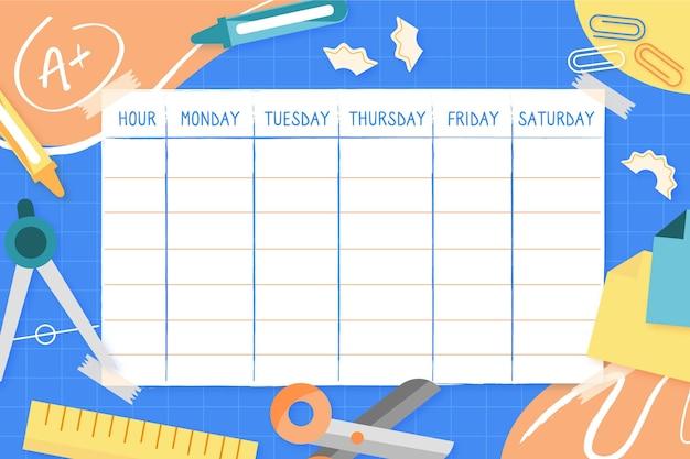Vorlage für den stundenplan für den schulanfang