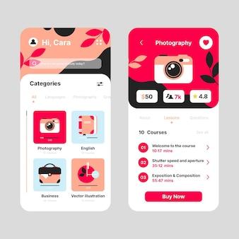 Vorlage für die benutzeroberfläche der kurs-app