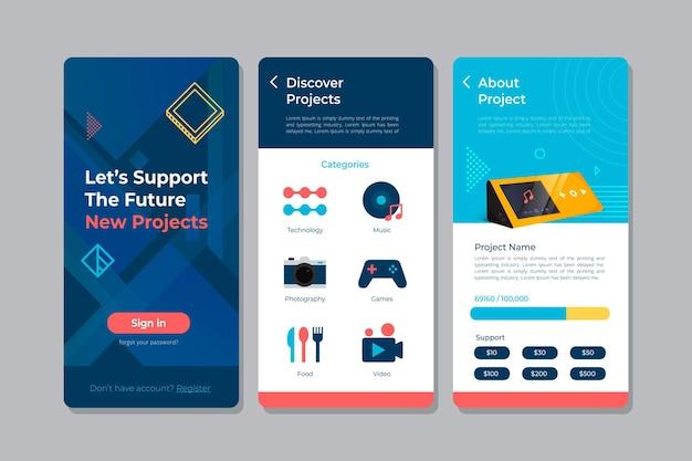 Vorlage für die crowdfunding-app-oberfläche