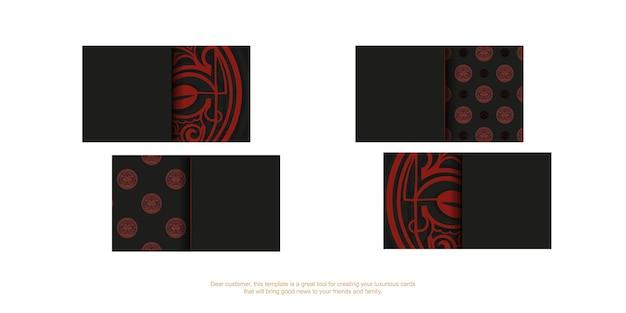 Vorlage für die druckgestaltung von visitenkarten in schwarz mit roten maori-maskenverzierungen.