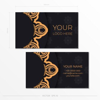 Vorlage für die druckgestaltung von visitenkarten schwarze farbe mit vintage-mustern. visitenkartenvorbereitung mit griechischer verzierung.