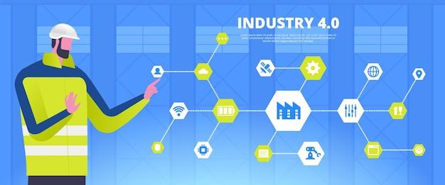 Vorlage für die industrielle revolution. intelligente fabrikarbeiter-cartoon-figur. innovative technologien