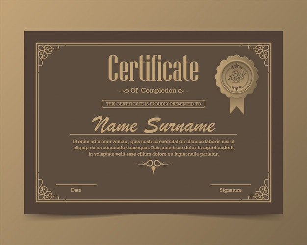 Vorlage für die klassische zertifikatsvergabe