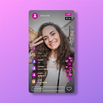 Vorlage für die live-stream-oberfläche der instagram-app