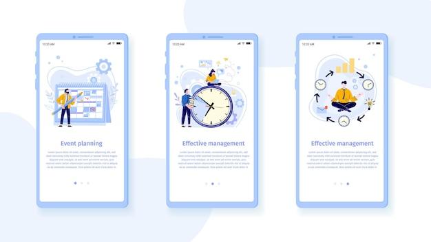 Vorlage für die mobile schnittstelle zum zeitmanagement. mann mit bleistift und zeitplan für die planung von ereignissen und aufgaben. mitarbeiter arbeiten