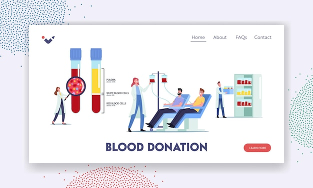 Vorlage für die zielseite der blutspende. winziger arztcharakter in riesigen glasflaschen mit plasma, weißen und roten blutkörperchen, spender spenden blut, medizin, gesundheitswesen. cartoon-menschen-vektor-illustration