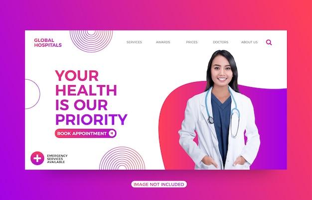 Vorlage für die zielseite der krankenhauswebsite