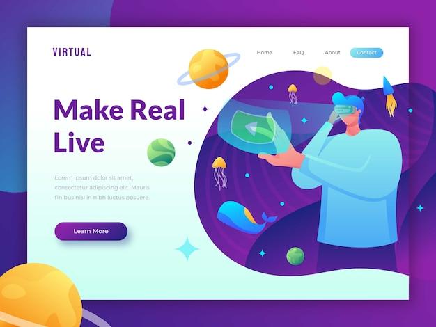 Vorlage für die zielseite der virtuellen realität