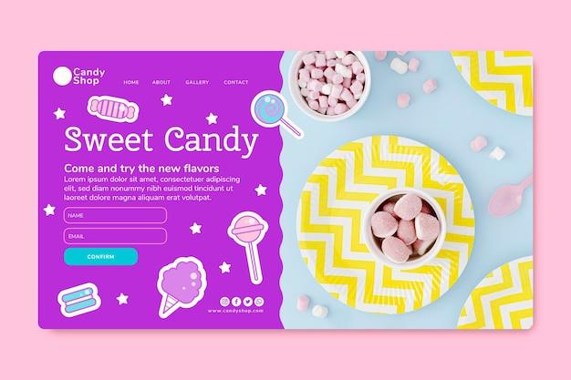 Vorlage für die zielseite des süßwarenladens