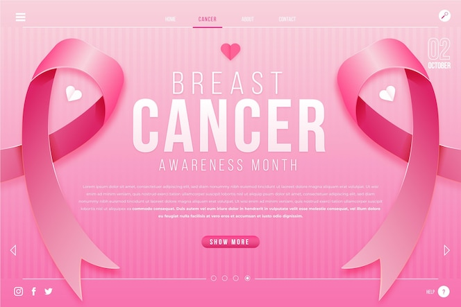 Vorlage für die zielseitenvorlage für den monat des brustkrebsbewusstseins mit farbverlauf