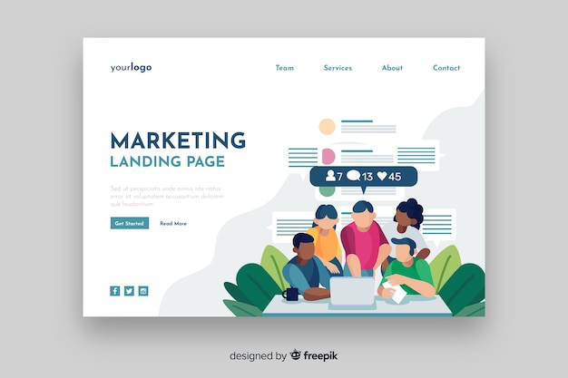 Vorlage für digitale marketing-landingpage
