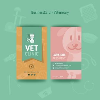 Vorlage für doppelseitige veterinär-visitenkarten