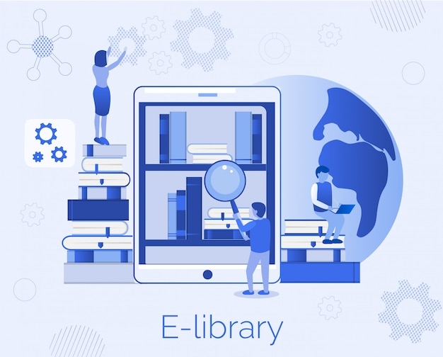 Vorlage für e-library education landing page flat