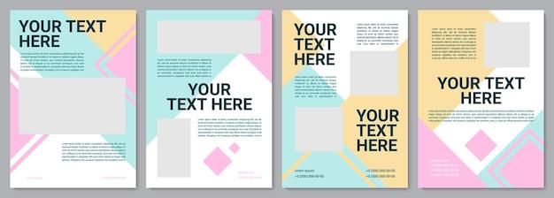 Vorlage für eine broschüre für den kindergarten. flyer, broschüre, broschürendruck, cover-design mit kopierraum. dein text hier. vektorlayouts für zeitschriften, geschäftsberichte, werbeplakate